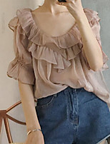 Women's Going out Cute Blouse,Solid Off Shoulder Short Sleeves Others