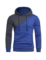 Men's Sports Casual/Daily Simple Hoodie Color Block Patchwork Hooded Micro-elastic Polyester Long Sleeve Fall Winter