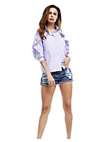 Camicia Da donna Casual Semplice Tinta unita Colletto Cotone Manica lunga
