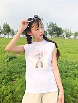 Women's Casual/Daily Simple Tank Top,Print Round Neck Sleeveless Cotton