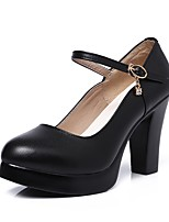Women's Heels Basic Pump Spring Fall Real Leather Party & Evening Dress Rhinestone Buckle Platform Black 4in-4 3/4in