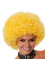 Perruque Synthétique Sans bonnet Mi Longue Frisés Jaune Perruque afro-américaine Pour Cheveux Africains Perruque de Cosplay Perruque