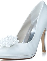 Women's Wedding Shoes Formal Shoes Satin Spring Summer Wedding Party & Evening Pearl Stiletto Heel Blue White 4in-4 3/4in