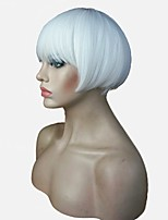 Cool Short White Bob Straight Full Synthetic Wigs Full Wig