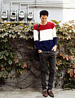 Men's Going out Casual/Daily Simple Short Pullover,Color Block Round Neck Long Sleeves Polyester Spandex Others Spring Fall Medium