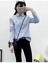 Women's Casual/Daily Simple Fall Shirt,Solid Shirt Collar Long Sleeves Acrylic Medium