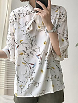 Women's Casual/Daily Simple Blouse,Print Stand Half Sleeves Polyester Others