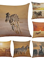 Set of 6  Zebra Linen Cushion Cover Home Office Sofa Square Pillow Case Decorative Cushion Covers Pillowcases (18*18Inch)
