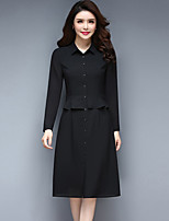 Women's Plus Size Going out Street chic Sheath Dress,Solid Shirt Collar Knee-length Long Sleeves Polyester Fall Mid Rise Micro-elastic