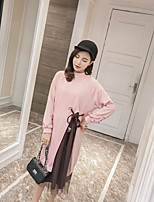 Women's Casual/Daily Simple Winter T-shirt Skirt Suits,Solid Crew Neck Long Sleeve