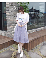Women's Casual/Daily Simple Summer T-shirt Skirt Suits,Striped Round Neck Short Sleeve