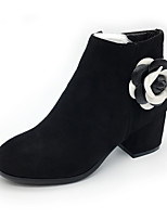 Women's Boots Fashion Boots Fall Winter Fleece Casual Party & Evening Dress Zipper Flower Chunky Heel Beige Black 2in-2 3/4in