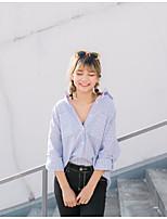 Damen Solide Gestreift Einfach Lässig/Alltäglich Hemd,Hemdkragen Langarm Baumwolle
