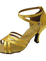 Women's Latin Satin Sandals Performance Criss-Cross Cuban Heel Light Yellow 2