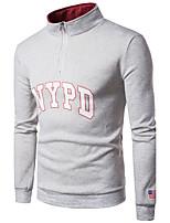 Sweatshirt Homme Sortie Décontracté / Quotidien simple Lettre Col de Chemise non élastique Coton Manches longues Automne Hiver