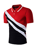 Men's Casual/Daily Simple Summer Polo,Color Block Shirt Collar Short Sleeves Spandex