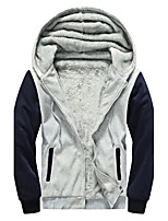 Men's Regular Padded Coat,Simple Casual/Daily Color Block-Cotton Cotton Long Sleeves