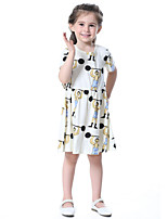 Girl's Cotton Fashion And Lovely Temperamental Gauze Kengpeng Harragu Cartoon Strongman Pattern Princess Dress