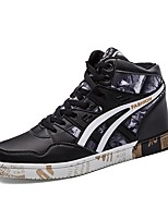 Men's Sneakers Comfort Cowhide Summer Fall Casual Walking Split Joint Flat Heel Brown Black Flat