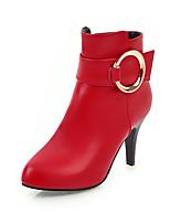 Damen Stiefel Komfort Kunstleder Herbst Winter Normal Kleid Stöckelabsatz Weiß Schwarz Grau Rot 7,5 - 9,5 cm