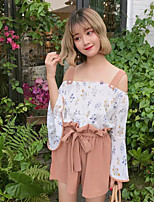 Women's Going out Vintage Summer Blouse Pant Suits,Floral Strap Long Sleeve