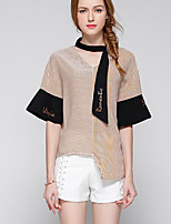 Women's Casual/Daily Simple Blouse,Striped V Neck Half Sleeves Polyester Others