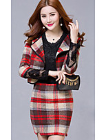 Women's Going out Simple Spring Summer Shirt Skirt Suits,Lines / Waves Round Neck ¾ Sleeve