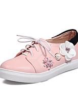 Women's Flats Comfort Light Soles Leatherette Fall Casual Dress Rhinestone Applique Imitation Pearl Lace-up Flat Heel Blushing Pink White