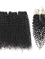 100% Virgin Brazilian Weave 8A Remy Human Hair for Cheap Body Wave 3pcs /SET/300g And One Virgin Brazilian Wavy Hair Closure (4*4) Natural Color