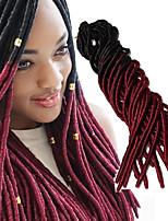 Forhæklede fletninger Hæklede fletninger Ombre hårfletter Dreadlock Extensions Falske dreads 100 % Kanekalon hårSort / Bourgogne Sort /