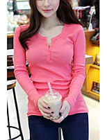 Women's Casual/Daily Simple T-shirt,Solid V Neck Long Sleeves Cotton Others