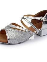 Women's Latin Paillette Leatherette Heels Practice Low Heel Silver Under 1