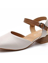 Women's Heels Light Soles Fall Winter PU Casual Dress Buckle Block Heel Beige Black 1in-1 3/4in