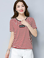 Women's Going out Simple T-shirt,Striped Round Neck Short Sleeves Cotton