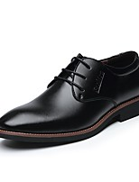 Men's Shoes Leather Spring Summer Fall Winter Comfort Formal Shoes Oxfords Lace-up For Casual Office & Career Black Brown