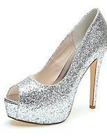 Women's Wedding Shoes Slingback Sparkling Glitter Summer Fall Wedding Party & Evening Dress Sparkling Glitter Stiletto HeelSliver Black