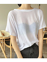 Women's Casual/Daily Simple T-shirt,Solid Round Neck Half Sleeves Cotton