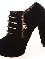 Women's Boots Light Soles Fall Winter PU Casual Dress Zipper Chunky Heel Light Brown Black 3in-3 3/4in