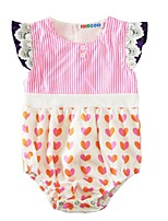 Baby Fashion Striped Lace One-Pieces,Cotton Summer Short Sleeve