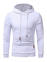 Men's Plus Size Plus Size Running Going out Casual/Daily Simple Hoodie Solid Cut Out Hooded Micro-elastic Cotton Long Sleeve Fall Winter