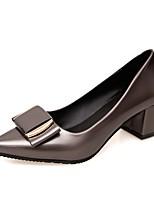 Damen High Heels Komfort PU Sommer Kleid Block Ferse Schwarz Grau Rot 5 - 7 cm
