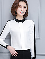 Women's Casual/Daily Simple Shirt,Striped Square Neck Long Sleeves Cotton