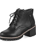 Women's Boots Comfort Bootie Fall Winter Leatherette Casual Dress Lace-up Split Joint Chunky Heel Black Gray Almond 2in-2 3/4in