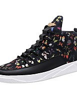 Men's Sneakers Comfort Light Soles Fall Winter PU Casual Outdoor Lace-up Flat Heel Black/Gold Rainbow Black Flat