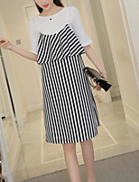Women's Going out Casual/Daily Simple Casual Glamorous & Dramatic Spring Summer T-shirt Dress Suits,Striped Sexy Round Neck Short Sleeve