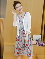 Women's Going out Simple Summer Blouse Skirt Suits,Floral Round Neck ¾ Sleeve
