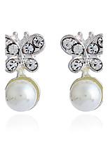 Per donna Orecchini a bottone Strass Classico Ipoallergenico Stile semplice Perle finte Strass Lega Gioielli Per Quotidiano Evento