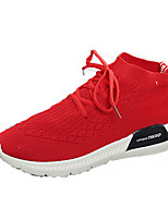 Women's Sneakers Running Comfort Knit Spring Fall Athletic Casual Outdoor Lace-up Flat Heel Ruby Black White Flat