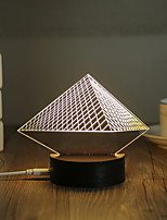 1 Set, Popular Home Acrylic 3D Night Light LED Table Lamp USB Mood Lamp Gifts, Pyramid