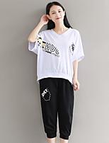Tee-shirt Femme,Lettre Décontracté / Quotidien simple Actif Manches Courtes Col en V Coton